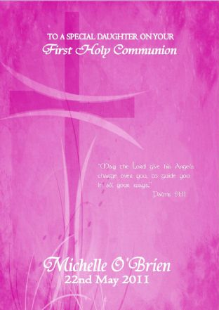 Personalised Girl Communion Card Pink Cross 3
